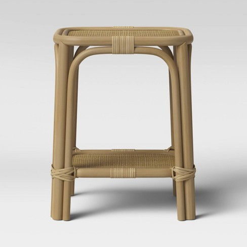 Monetta Square Rattan Woven Top Accent Table Natural Brown - Threshold™ - image 1 of 4