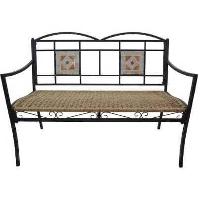 "Arett Sales 45"" All-Weather Art Deco Outdoor Patio Wicker Garden Bench with Tile Accents - Black/Brown"