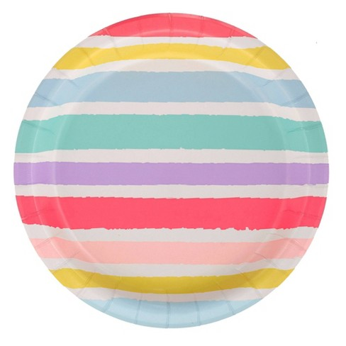 """8.5"""" 20ct Striped Disposable Dinner Plates - Spritz™ - image 1 of 2"""