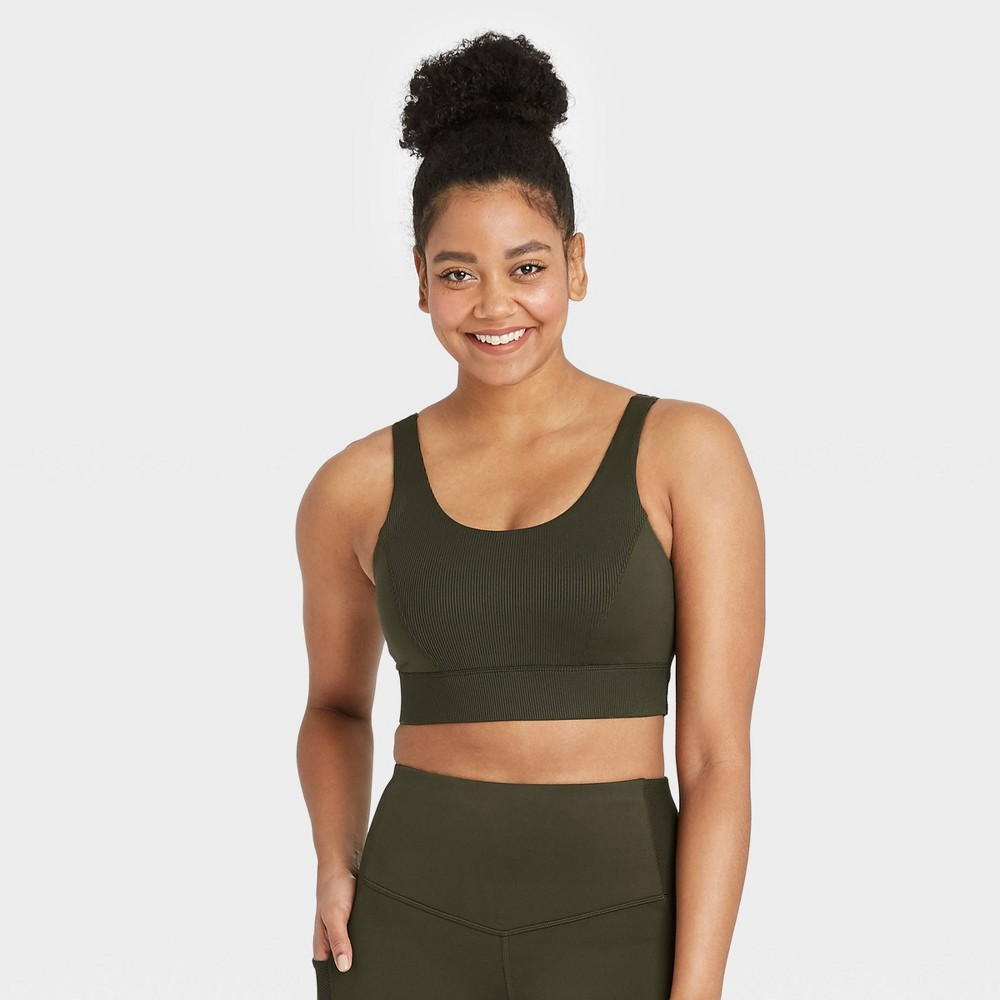 Women 39 S Medium Support Soft Ribbed Bra All In Motion 8482 Green Olive S
