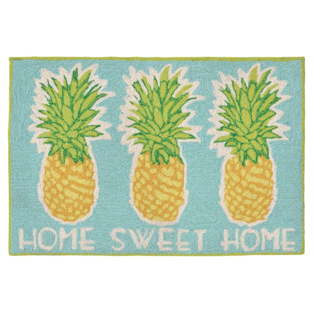 Frontporch Indoor/Outdoor Home Sweet Home Aqua Rug 24