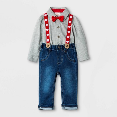 Baby Boys' 3pc V-Day Suspender Top & Bottom Set with Bow - Cat & Jack™ Gray Newborn
