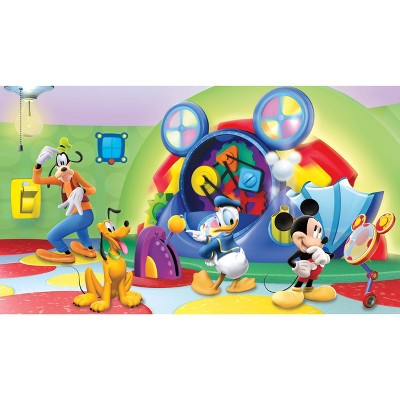 6'x10.5' Mickey and Friends Clubhouse Capers Chair Rail Prepasted Mural Ultra Strippable - RoomMates