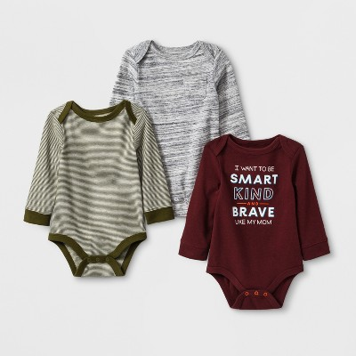 Baby Boys' 3pk  Like Mom  Long Sleeve Bodysuit - Cat & Jack™ Gray/Maroon Newborn