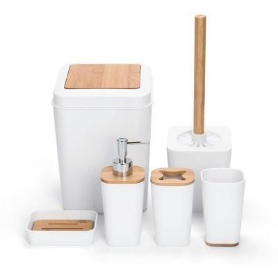 6pc Plastic/Bamboo Bathroom Set White - KRALIX
