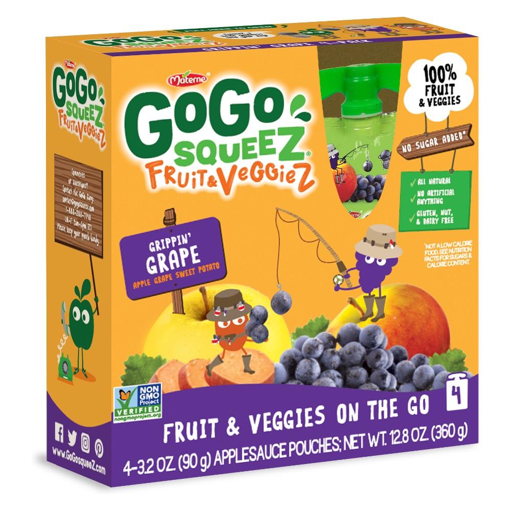 GoGo SqueeZ Fruit & VeggieZ Grippin Grape with Apple and Sweet Potato 4ct / 3.2oz