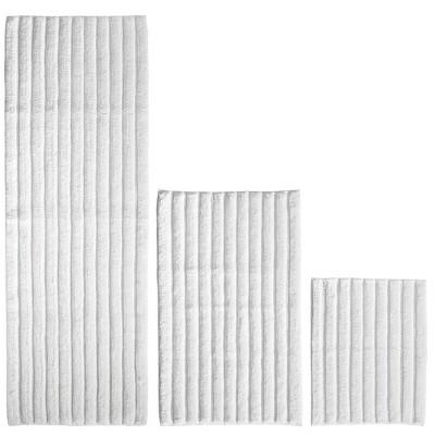 mDesign Soft Cotton Spa Mat Rug for Bathroom, Varied Sizes, Set of 3 - White