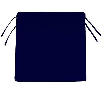 """Plow & Hearth - Polyester Classic Outdoor Chair Cushions with Ties, 18.5""""x 16.5""""x 3"""", Midnight Navy"""