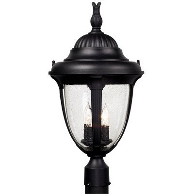 "John Timberland Outdoor Post Light Fixture Black Colonial 24 1/2"" Seeded Glass for Exterior Garden Yard Patio Driveway"