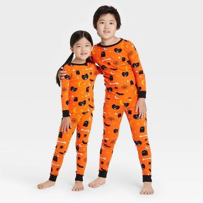 Kids' Halloween Spooky Print Matching Family Pajama Set - Orange
