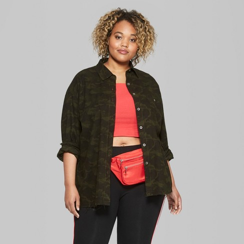6119c945600 Women s Plus Size Camo Print Long Sleeve Button-Down Shirt With Back Patch  - Wild Fable™ Olive   Target