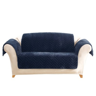 Navy Quilted Faux Fur Loveseat Furniture Cover - Sure Fit