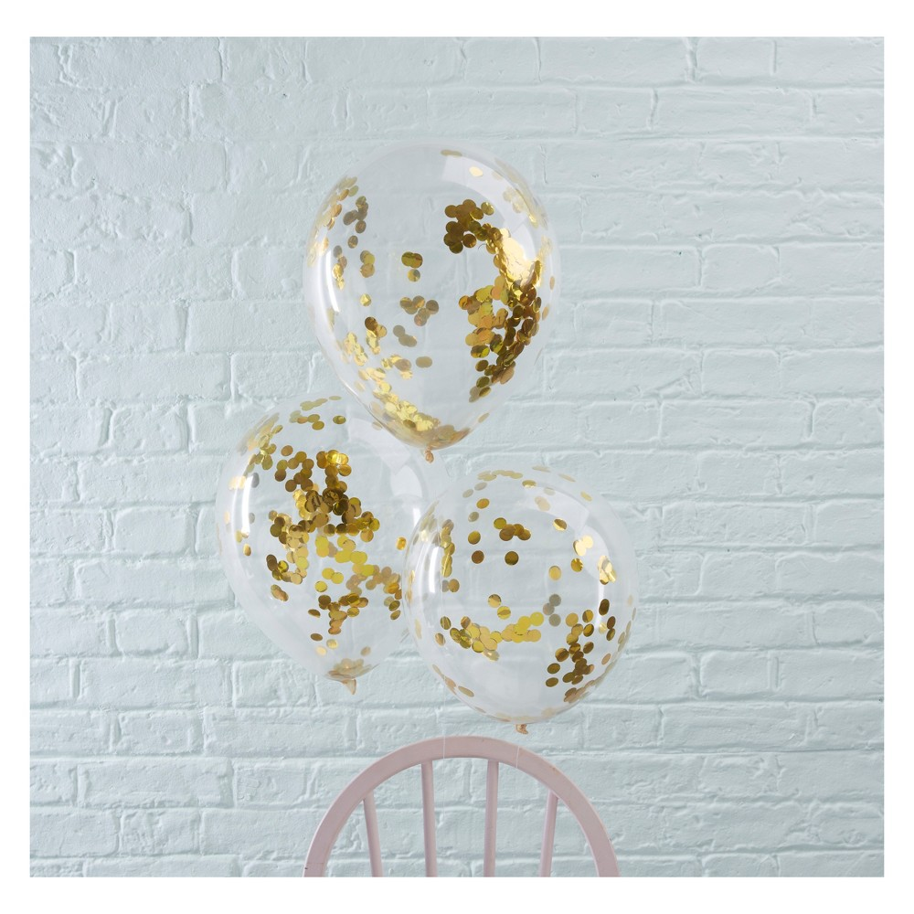 Image of 5ct Ginger Ray Gold Confetti Filled Balloons Pick And Mix, Gold Clear