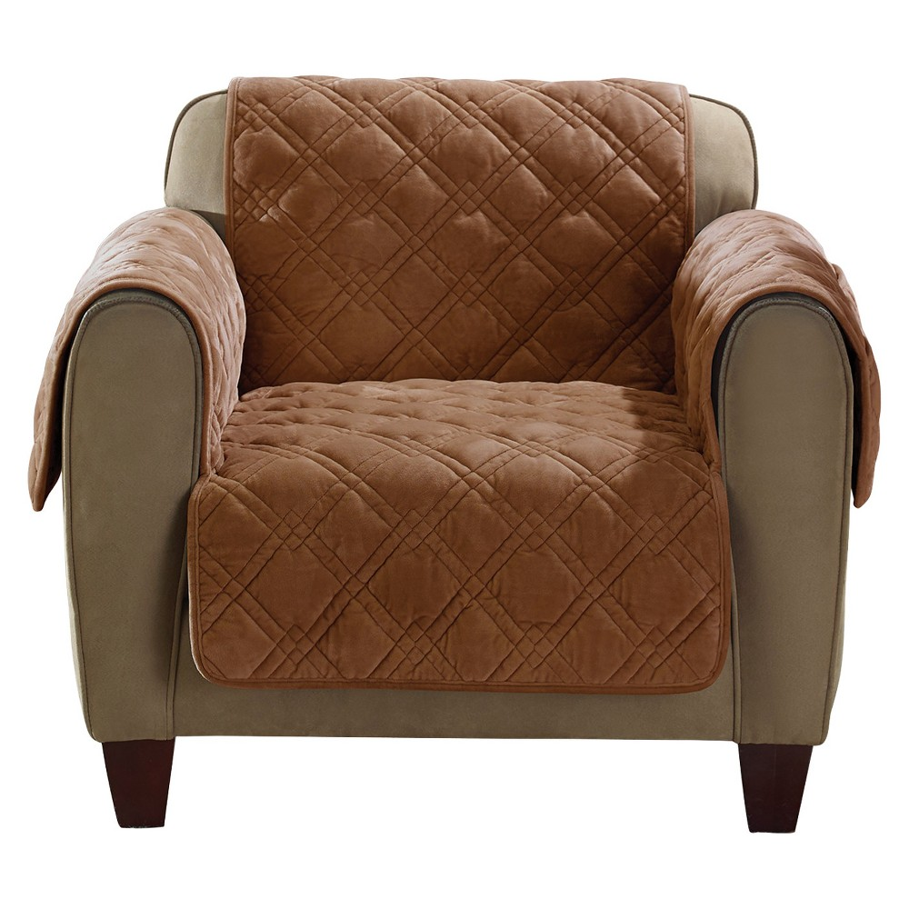 Fine Brown Plush Comfort Chair Furniture Cover Sure Fit Caraccident5 Cool Chair Designs And Ideas Caraccident5Info