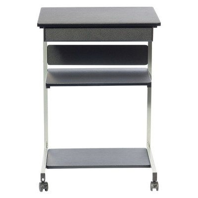 Rolling Laptop Cart with Storage Black - Techni Mobili