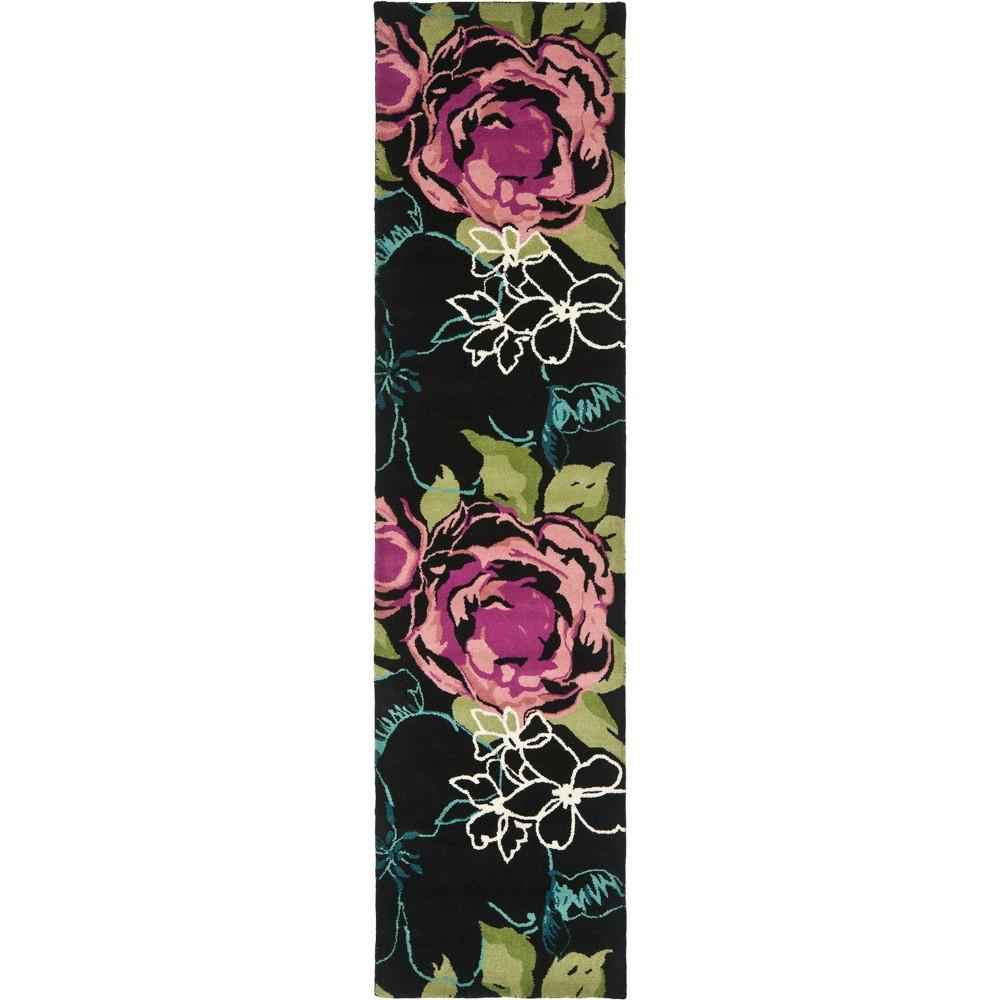 2 39 X9 39 Runner Floral Tufted Rug Black Safavieh