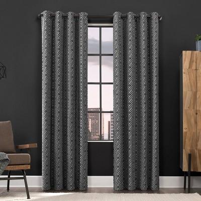 Gresham Geometric Total Blackout Grommet Top Curtain Panel - Scott Living