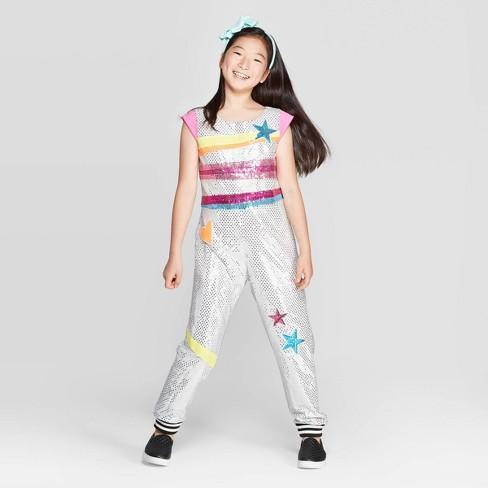 Girls' JoJo's Closet D.R.E.A.M. Tour Jumpsuit - Silver - image 1 of 3
