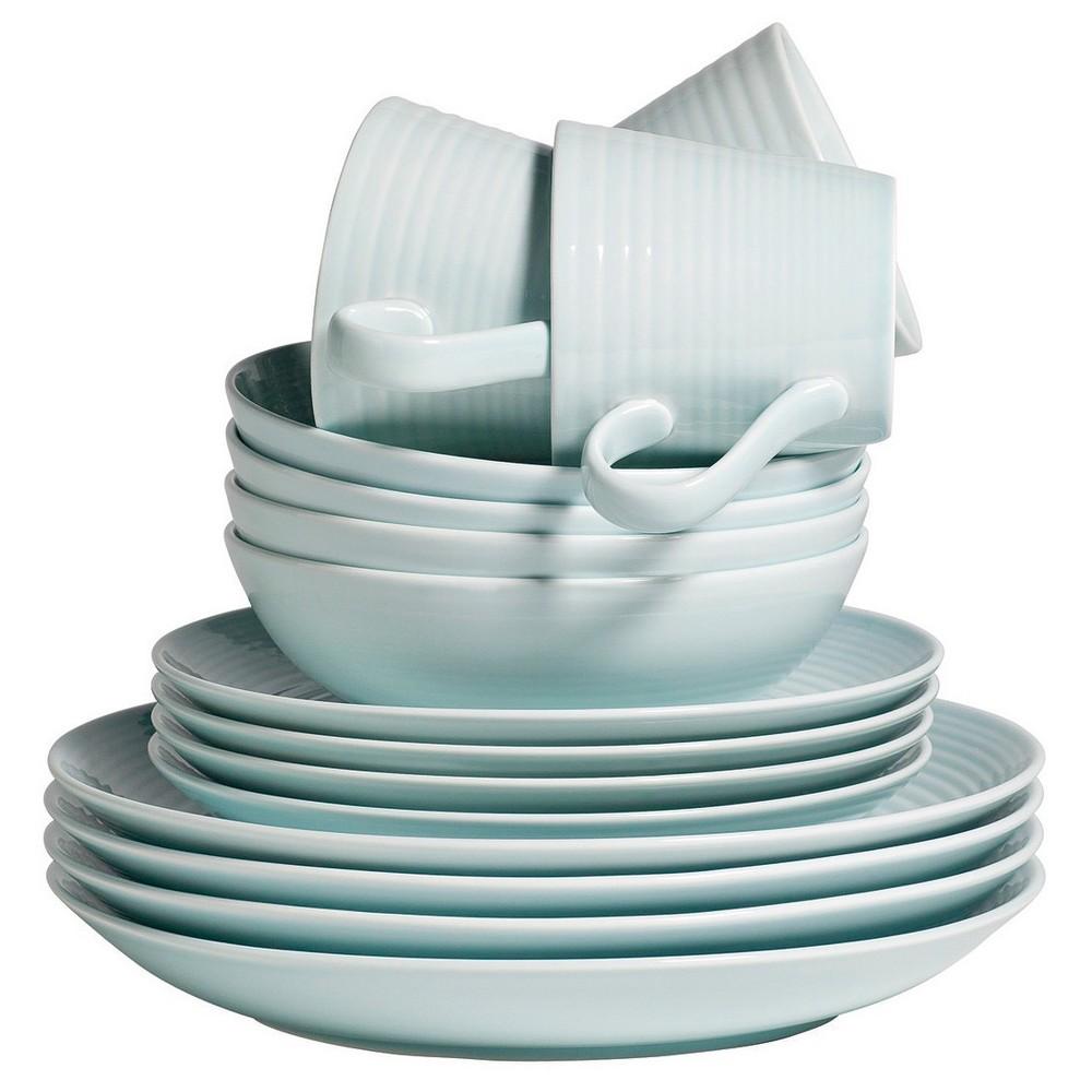 Image of Gordon Ramsay by Royal Doulton Maze Stoneware 16pc Dinnerware Set Blue