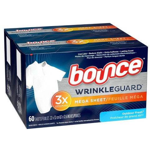 Bounce WrinkleGuard Mega Dryer Sheets Fabric Softener and Wrinkle Releaser - Outdoor Fresh Scent - 120ct - image 1 of 3
