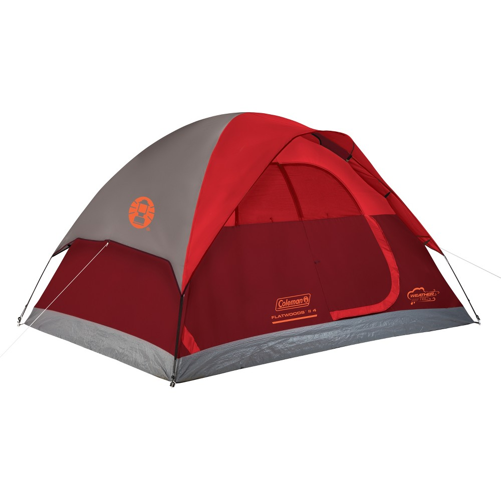 Image of Coleman Flatwoods II 4 Person Tent - Red, Red Gray