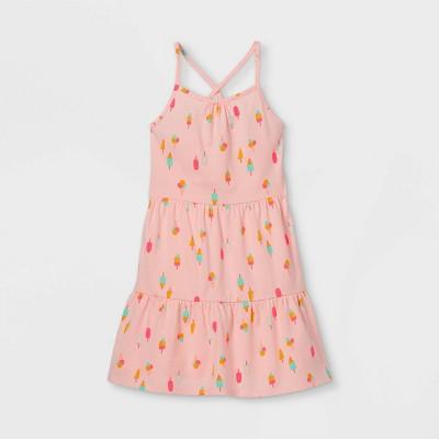 Girls' Printed Tiered Sleeveless Knit Dress - Cat & Jack™ Powder Pink