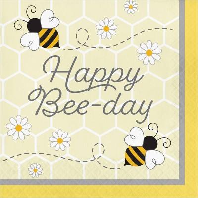 Bumblebee 48ct Baby Happy Birthday Napkins