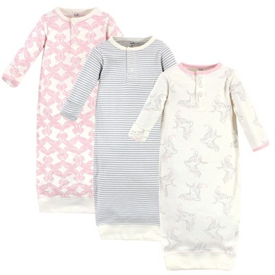 Touched by Nature Baby Girl Organic Cotton Henley Long-Sleeve Gowns 3pk