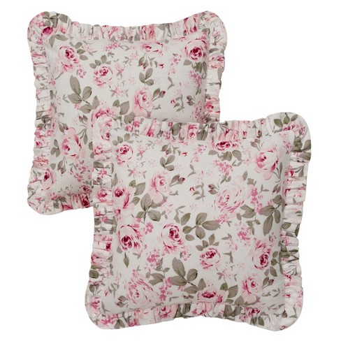 """Pink Floral Print Rosalie Ruffled Throw Pillow Cover (16""""x16"""") 2pc - Simply Shabby Chic® - image 1 of 2"""