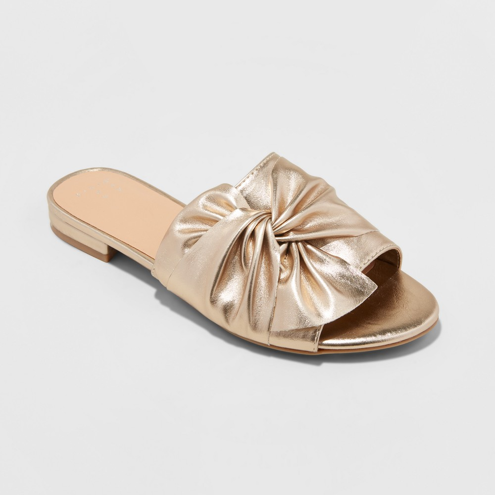 Women's Huntress Metallic Knotted Slide Sandals - A New Day Gold 10