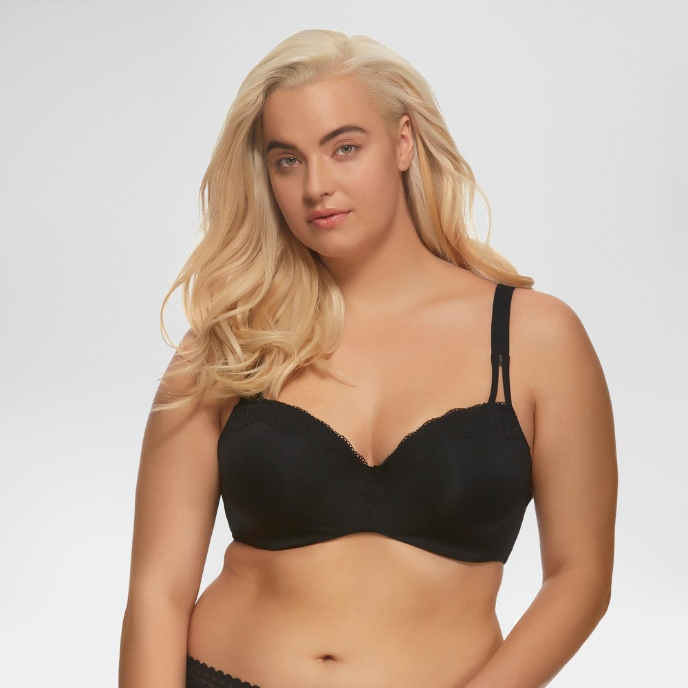 Paramour Women's Brilliance Lace Trim Seamless Bra - Black 40DDD