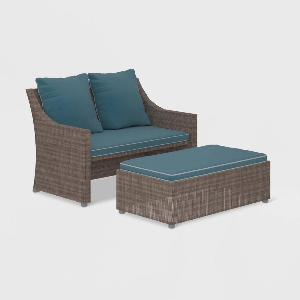 Image of Cosco 2pc Wicker Loveseat & Ottoman Patio Set - Gray