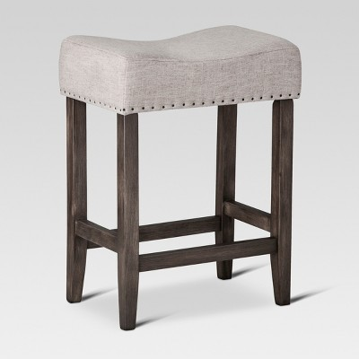 "24"" Rumford Saddle Counter Height Barstool with Wood Linen Gray - Threshold™"