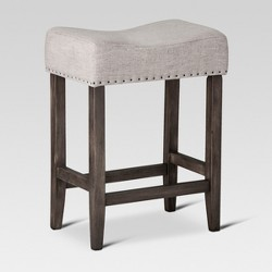 "Rumford Saddle 24"" Counter Stool Gray Linen - Threshold™"