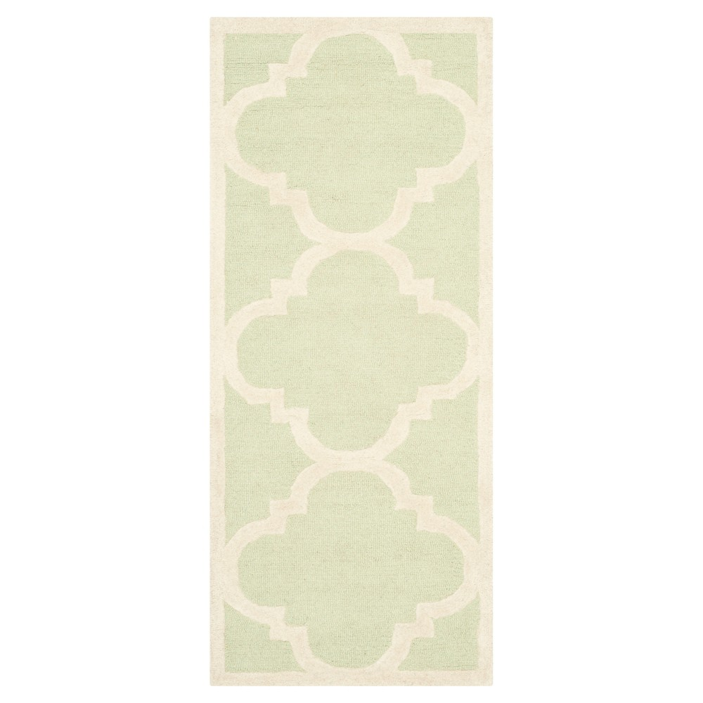 Landon Texture Wool Rug - Light Green / Ivory (2'6 X 12' Runner) - Safavieh, Light Green/Ivory