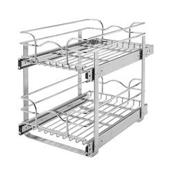 Rev-A-Shelf 5WB2-1822-CR 18 Inch Pull Out 2 Tier Wire Baskets, Plated Chrome
