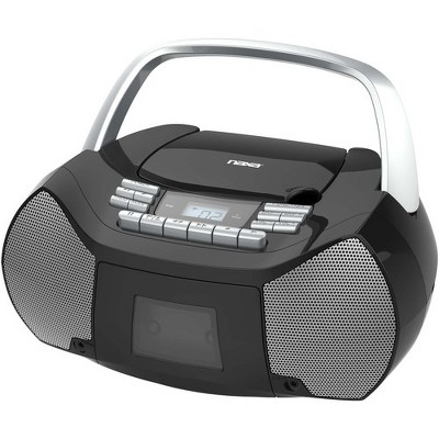 Naxa Portable CD/Cassette Boombox - 1 x Disc - 2.40 W - Silver, Black - CD-DA - Auxiliary Input
