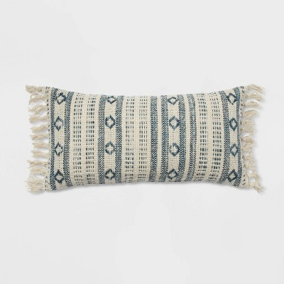 "12""x24"" Oversized Woven Pattern Lumbar Throw Pillow Blue/Cream - Threshold™"