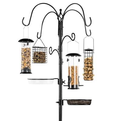 Best Choice Products 89in 6-Hook Bird Feeding Station, Steel Multi-Feeder Stand w/ 4 Feeders, Tray, Bird Bath