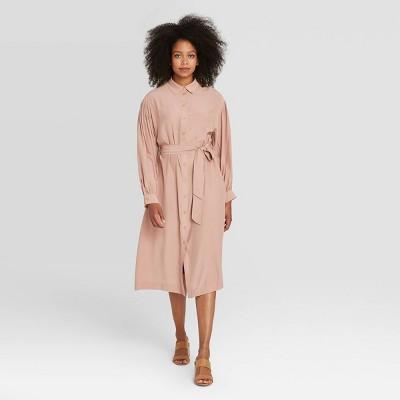 Women's Long Sleeve Drapey Button Dress - Prologue™ Blush Pink XS