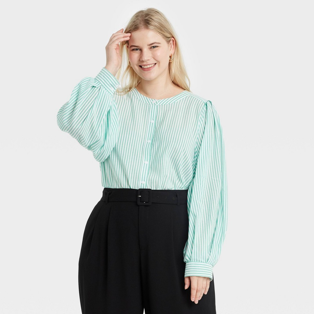 Women 39 S Plus Size Striped Long Sleeve Button Down Femme Top A New Day 8482 Green 1x