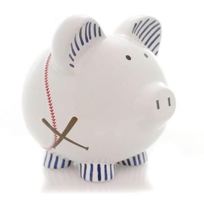 "Bank 7.75"" Baseball Pig Piggy Bank Sport Ball Bat  -  Decorative Banks"