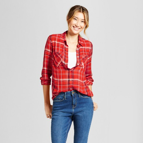 Women's Plaid Any Day Tunic - A New Day™ Tomato - image 1 of 3