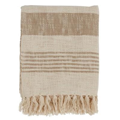 50 x60  Striped And Tassled Throw Blanket Tan - Saro Lifestyle