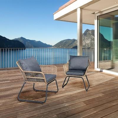 Lugano 2pc Rattan Wicker Outdoor Patio Armchair Set with Cushions - Natural/Gray - DUKAP