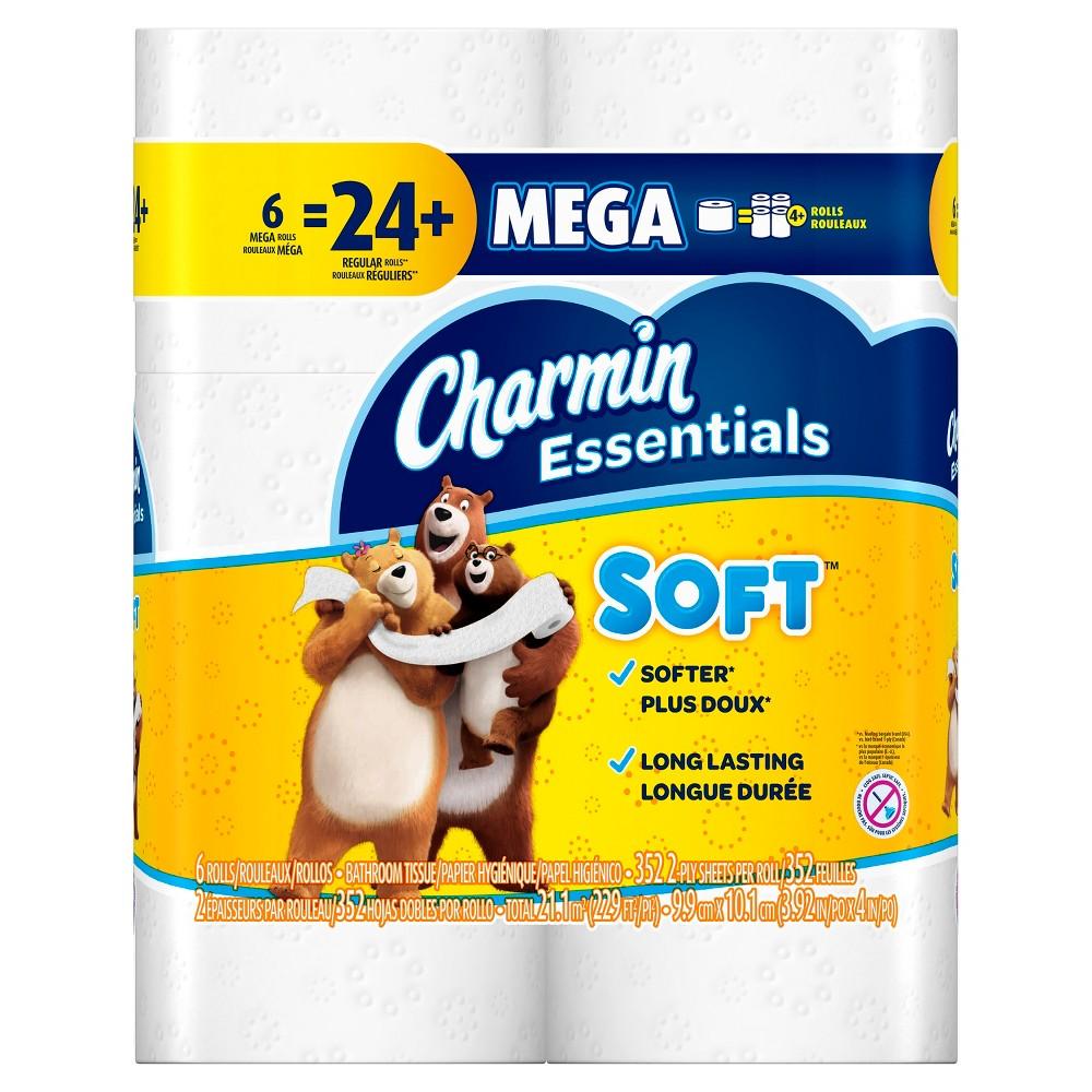 Charmin Essentials Soft Toilet Paper - 6 Mega Rolls