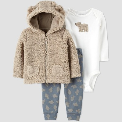 Baby Boys' 3pc Sherpa Bear Bodysuit, Cardigan Top & Bottom Set - Just One You® made by carter's Brown/Blue/White Newborn