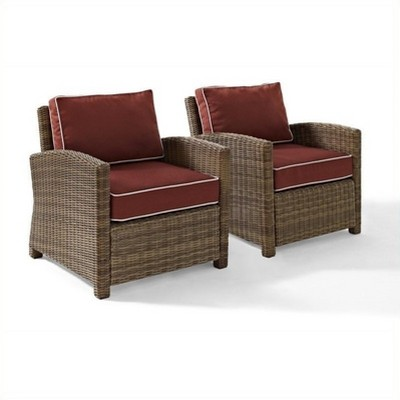 Steel 2 Piece Outdoor Wicker Seating Set with Sangria Cushions in Brown-Pemberly Row