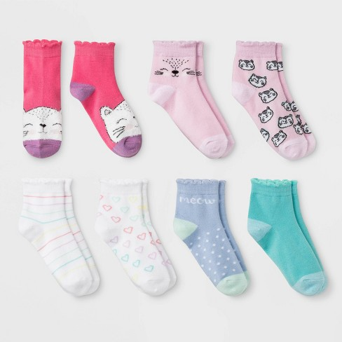 Girls' 7pk Cat Print No Show Socks - Cat & Jack™ Colors May Vary - image 1 of 1