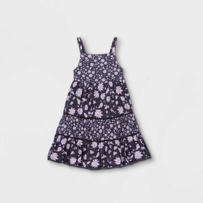 Toddler Girls' Floral Tiered Tank Dress - Cat & Jack™ Navy